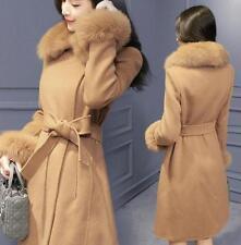 Fashion Women's Long Coat Jacket  Fur Collar Wool Blend Belt Slim Fit Outwear