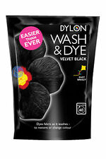 350 G Velvet Black Dylon Machine Wash & Dye Fabric CLOTHES colore colorante, gratis P&P!