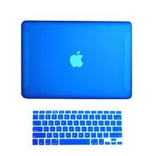 "2 in1 Rubberized ROYAL BLUE Case for Macbook White 13"" A1342 with Keyboard Cover"