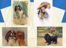 KING CHARLES ENGLISH TOY SPANIEL 4 VINTAGE STYLE DOG PRINT GREETING NOTE CARDS 2