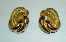 Vintage CHRISTIAN DIOR Gold Tone Rope Design Twisted Matt Glossy Clip Earrings