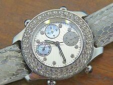 Vintage silver AGATHA FRANCE PARIS CRYSTAL CHRONOGRAPH watch MOTHER OF PEARL