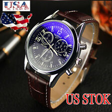 Men's Date Leather Stainless Steel Military Watch Sport Quartz Wrist Watch USPS
