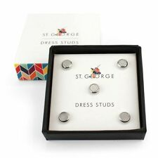 Dress Stud Round Mother Of Pearl silver NEW in Gift Box - 25277