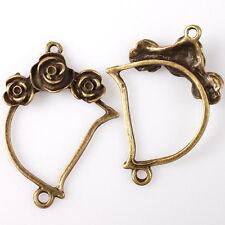20pcs 144871 Bronze Tone Letter D Rose Flower Charms Alloy Connector Pendants