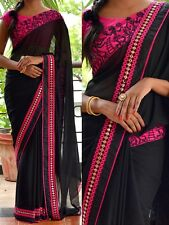FESTIVAL SAREE INDIAN PARTYWEAR BOLLYWOOD ETHNIC BLACK COLOR GEORGETTE SARI-3084