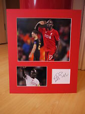 Mounted Mamadou Sakho Signed Liverpool FC Card & Photo Display