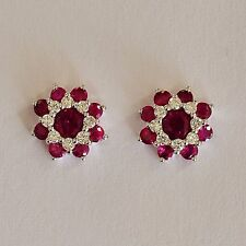 RUBY DIAMOND EARRINGS. THE VERY BEST RUBIES PLUS 8 DIAMONDS IN 9K WHITE GOLD.