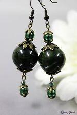 Glass Jewels Bronze Ohrringe Ohrhänger Vintage Perle Grün Moosgrün Groß #I045