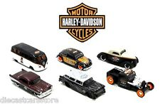 MAISTO HARLEY DAVIDSON SET OF 6 VW BEETLE FORD CHEVY HOT 1/64RODS CUSTOM 15380