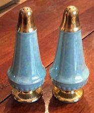Vintage 22KT Acme Craftware Turquoise Pearl Luster Salt & Pepper Shaker Set