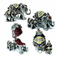 Grey Lovely Baby Elephant & Mother Trinket Box w/ Austrian Crystal