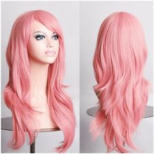 USA Store Pink Full Wigs Women Lady Anime Cosplay Full Wig Costume Party Dress