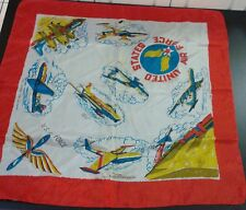 Vintage United States Air Force USAF Bomber Aircraft Silk Scarf Korean War Era