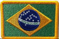 BRAZIL Flag Patch With VELCRO® Brand Fastener Military Police GOLD Emblem #7