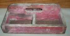 Vintage Divided Wooden Farm Nails or Staples Carrier Crate Box With Handle Chic