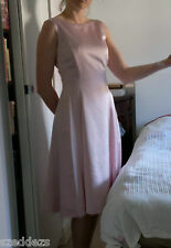 Laura Ashley Pink Fit Flare Dress Full Skater Midi Boat Neck Prom 50/90s size 10