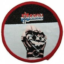 "SAXON   ROUND ""FIST""  sew on ORIGINAL  patch , 80'S"