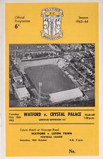 Football Programme WATFORD v CRYSTAL PALACE Oct 1963