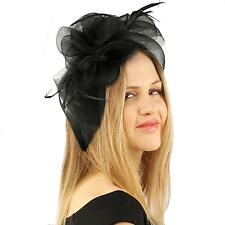 Handmade Floral Beads Feathers Headband Fascinator Millinery Cocktail Hat Black