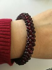 Natural Red Garnet Stone Seed Bead Woven Bracelet (R61)