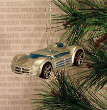 FUNKY SquisheD DODGE SUPER 8 HEMI SILVER BLUE CHRISTMAS ORNAMENT XMAS