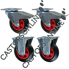 "Heavy Duty Rubber Castor Wheels, 4-Pack, 615KG Load Capacity (200MM/8"")"