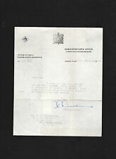 John Anthony Golding SIGNED 1967 letter Administrator of Turks & Caicos Islands
