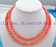New 6mm Real nature round pink coral bead Gemstone necklace 35''