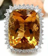 31.08CTW NATURAL CITRINE AND DIAMOND RING 14K SOLID WHITE GOLD