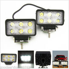 2 Pcs Rectangular 18W LED Driving Working Spot Lamps Off-Road For Jeep Cherokee