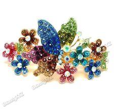 Multi-color Rhinestone Crystal Gold Tone Metal flower hair claw clip Barrette #6
