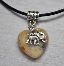 Natural Crazy Lace Agate Heart & Elephant Pendant Necklace Ladies Gift Zoology