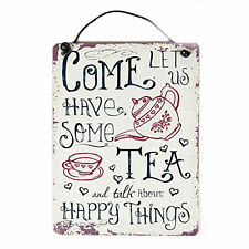 """Sass Belle Retrò """"vieni consente di avere un tè"""" in metallo Insegna da APPENDERE 10x8cm"""