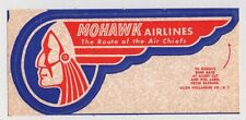 1950'S MOHAWK ROUTE OF THE AIR CHIEFS AIRLINES LUGGAGE LABEL DECAL ~INDIAN