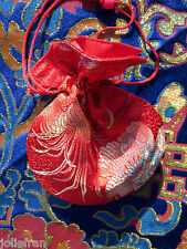 TWO RED SILK SATIN BROCADE TIBETAN BUDDHIST MALA BAG JEWELRY GIFT BAG NEPAL