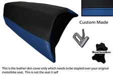 BLACK & ROYAL BLUE CUSTOM FITS PEUGEOT JETFORCE 50 125 REAR LEATHER SEAT COVER