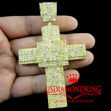14K YELLOW GOLD PLATED MENS WOMENS CANARY LAB DIAMOND JESUS CROSS CHARM PENDANT