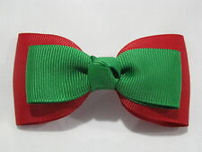 hair bows christmas ribbon girl accessories clip elastic red green medium tuxedo
