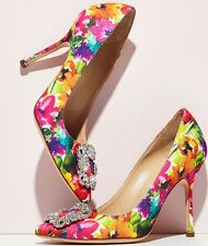 NIB New Manolo Blahnik Hangisi Floral-Print 105mm Pump Multicolor Size 38 US 8B