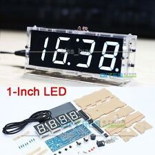 diy Digital LED Electronic Microcontroller Clock L Screen display Time Light WHI