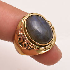 Natural Labradorite Gemstone Ring Size US 7.5, Antique Brass Jewelry BRR205