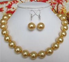 12MM golden South Sea shell pearl necklace earrings 18""