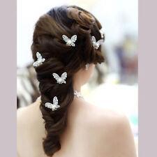 3X Silver Butterfly Hair Pin Bridal Wedding Dress Costume Headdress Hair Jewelry