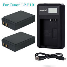 2x Battery +USB charger For Canon LP-E10 LPE10 EOS 1100D 1200D Rebel T3 Kiss X50