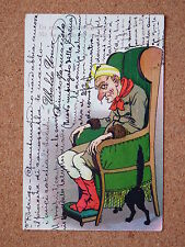 R&L Postcard: Comic, Old Thin Man/Scrooge in Fireside Armchair, Euro Card