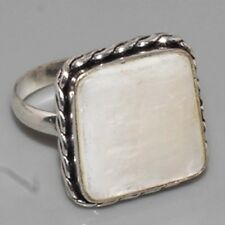 A315 Mother Of Pearl & 925 Silver Overlay Ring US   10  Gemstone Jewellery
