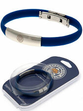LEICESTER CITY FC STAINLESS STEEL CREST BRACELET COLOURED SILICONE WRISTBAND