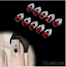 10Pcs 3D Rhinestone Crystal Alloy Decoration Tips Nail Art Stickers Design wear