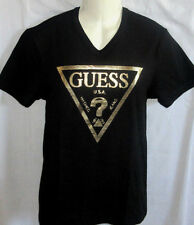 MENS GUESS V-NECK ICONIC LOGO BLACK/GOLD T-SHIRT SIZE S
